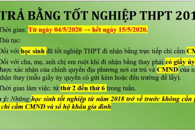 Thông báo nhận bằng TN THPT năm 2019